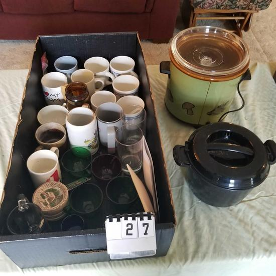 Assortment Cups, Glasses and Crockery Kettle Slow Cooker