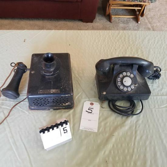 Antique Telephones Wall Mount and Desktop Dial