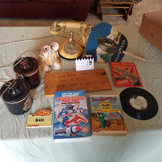 Assortment inc. Dial Telephone, Goodyear Hand Fan, Comic Book Price Guide