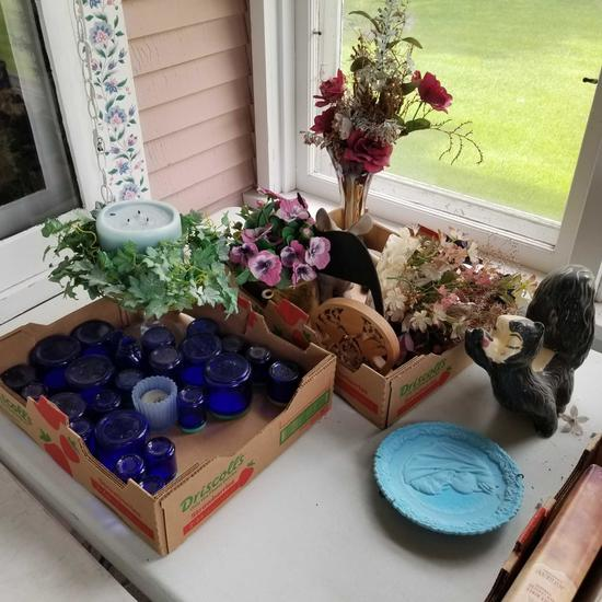 Assortment Blue Glass Bottles, Vases and Floral Pieces