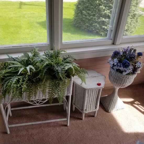 Wicker Planter, Table, and Flower Stand