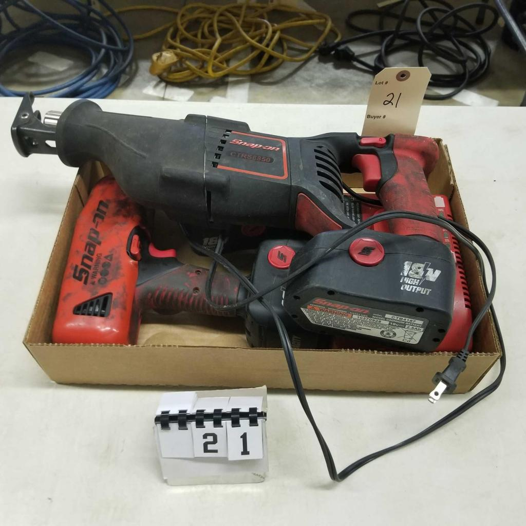 """SNAP ON 18v Reciprocating Saw, 1/2"""" Drill, and 1/2"""" Impact Driver"""
