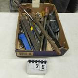 Assortment inc. Files, Punches, Chisels, Snap Ring Pliers, and Pipe Wrench