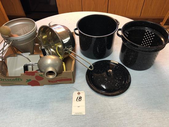 Assortment Enamel Canners and Canning Utensils