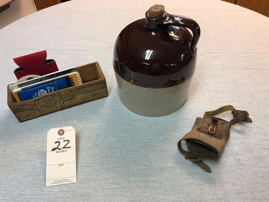 Assortment incl. Brown-top Cider Jug, Palm Husking Peg, and Kraft Cheese Box