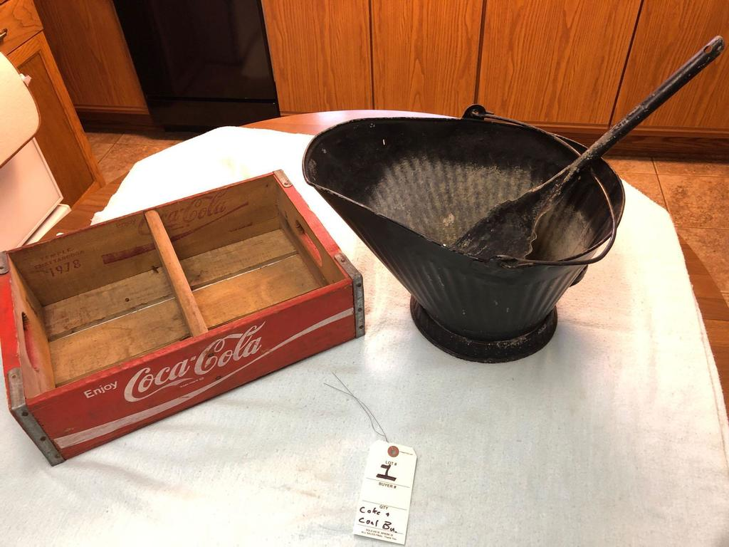 Coal Bucket with Shovel and Coca-Cola Wood Crate