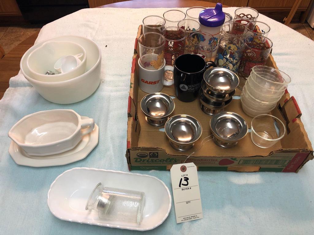Assortment Cartoon Glasses, Custards, Gravy Boat, and Glass Mixing Bowls