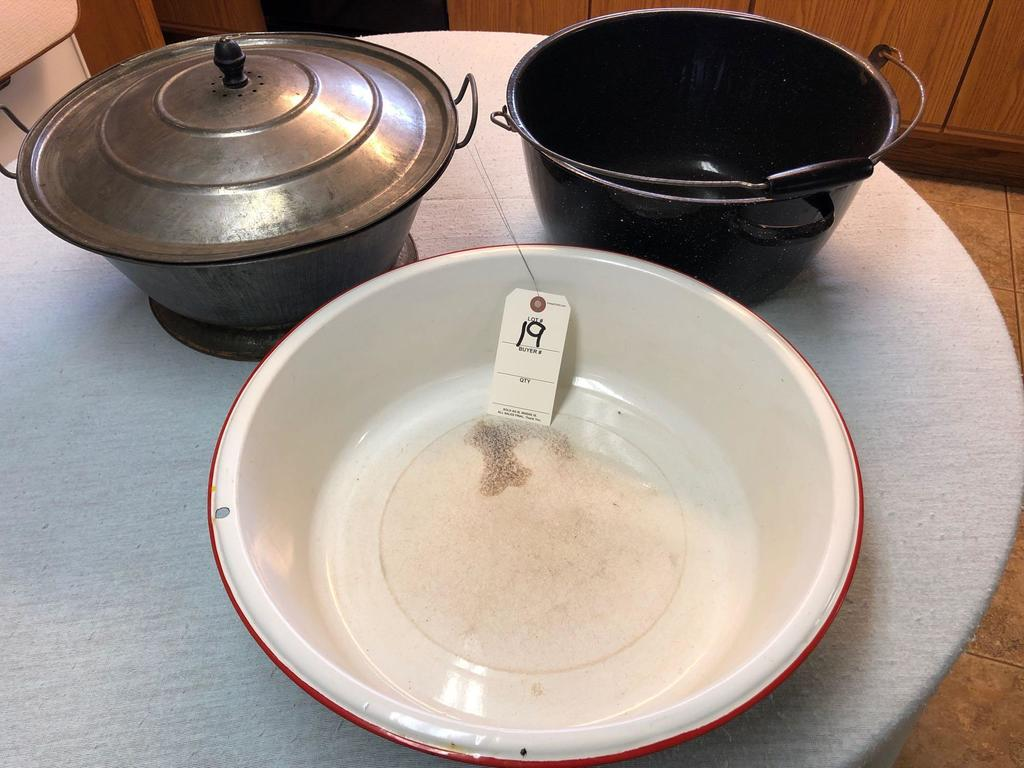 Assortment Red Rim Enamel Bowl, Covered Yeast Pan, and Enamel Dutch Oven
