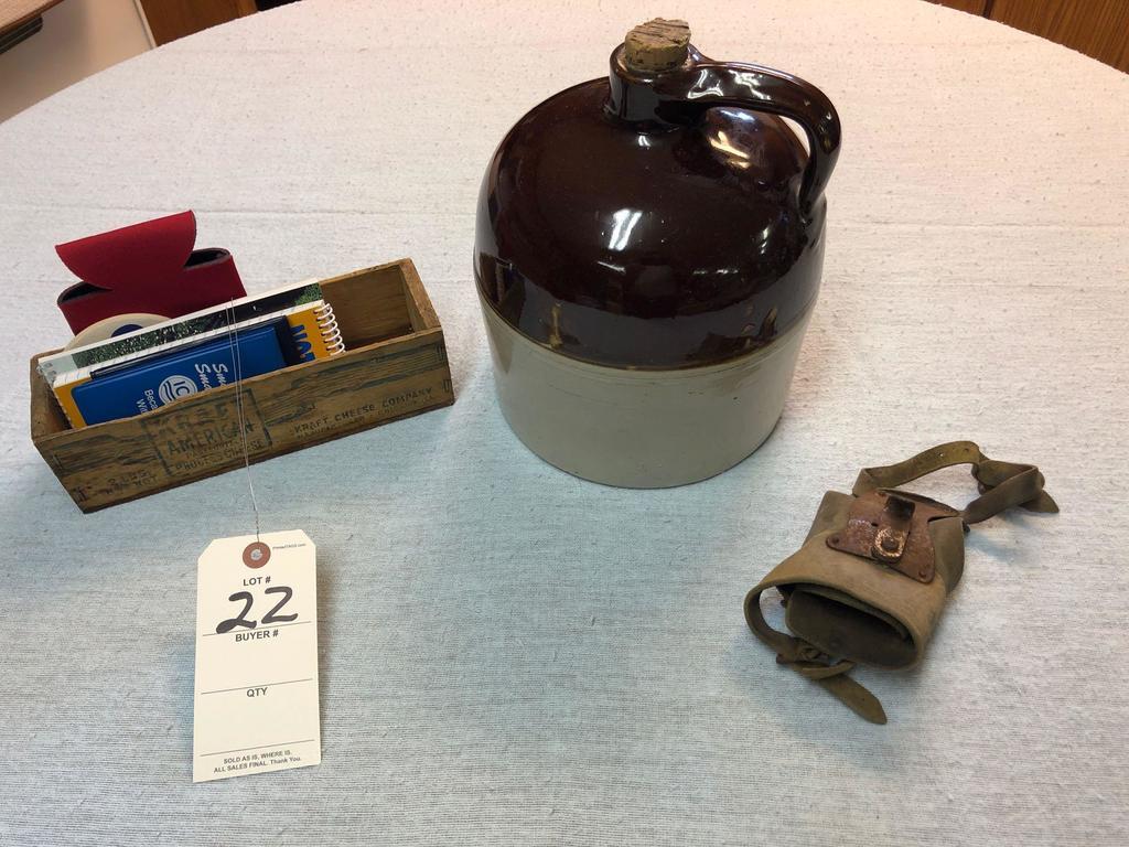 Assortment incl. Brown-top Cider Jug, Palm Husking Peg, and Kraft Cheese Box