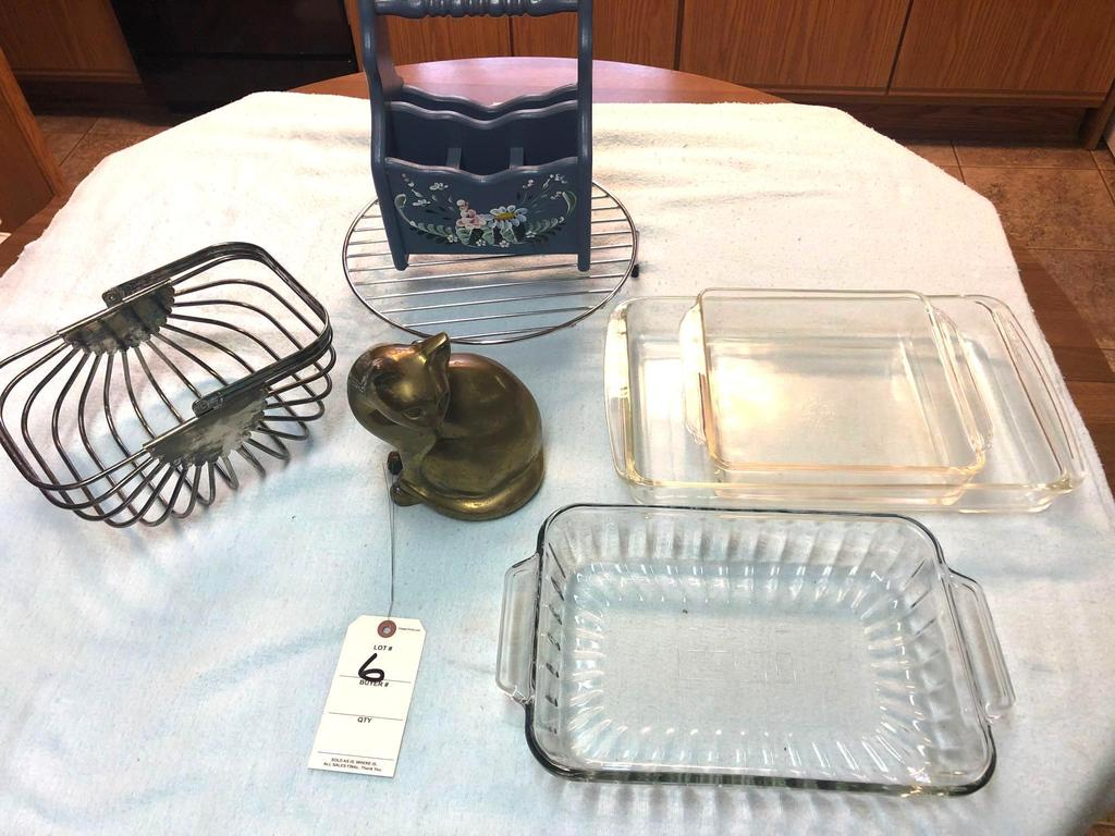 Assortment Glass Cake Cookware and Metal Items incl. Brass Cat