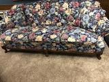 3 Cushion Floral Design Couch, Ornate Clawfoot Frame by England Corsair Inc.