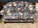 2 Cushion Floral Design Loveseat, Ornate Claw Foot Frame by England Corsair Inc