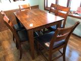Hidden Leaf Bar Style Table and 6 Leather Seated Chairs By Klaussner