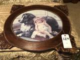 Ornate Framed Shepherd Dog and Little Girl