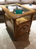Glass Top Square Magazine Table with Storage