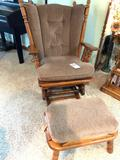Cushioned Glider Rocker with Matching Footstool