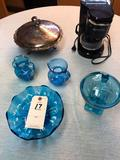 Assortment incl. Mini Coffee Maker, Blue Glass Items, and Metal Covered Candy Dish