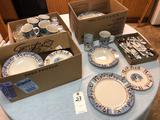 Snowman Scene Dish Set incl. Plates, Saucers, Cups, Glasses, and Flatware
