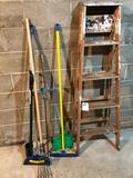 Assortment Step Ladders, Brooms, and Gardening Tools