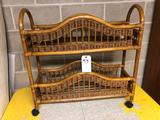 Wicker 2 Tier Floral Display Stand
