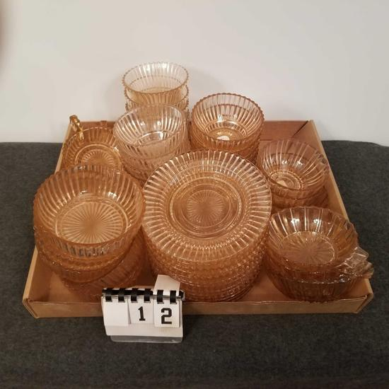 Pink Depression Assortment inc. Saucers and Bowls