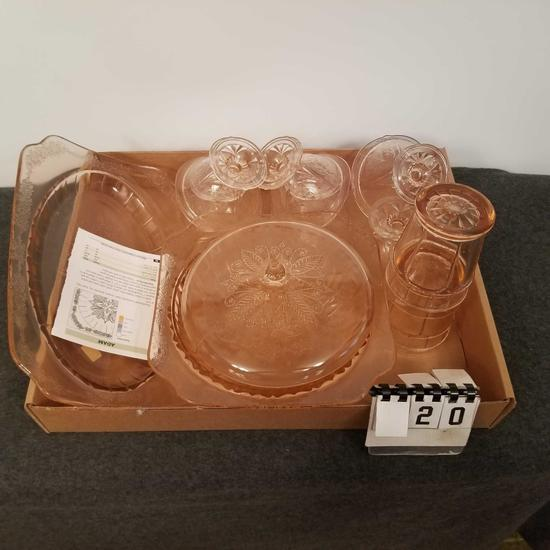 Pink Depression Assortment inc. Trays, Stem Ware, and Tumblers