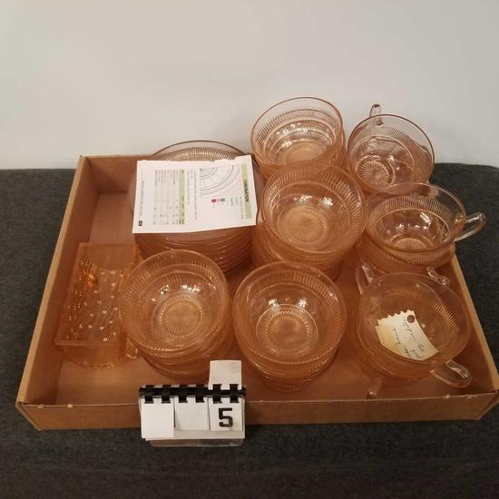 Assortment Pink Depression Glass inc. Bowls, Plates, and Cups