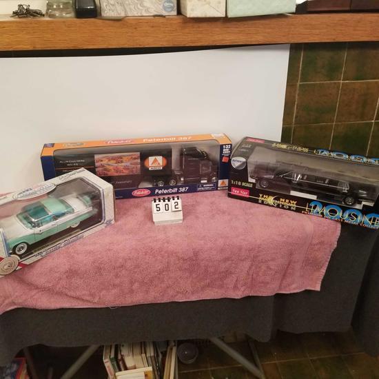 Assortment inc Allis Chalmers Peterbilt Semi-Tractor Trailer, Ford Fairlane, and Lincoln Limousine