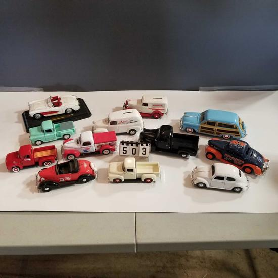 Assortment Metal Cars and Pickups inc. Corvette, Ford, Chevy and Volkswagon