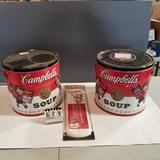 Campbell's Dual Handled Storage Tins and Thermometer