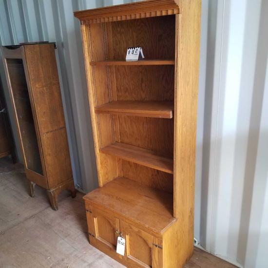 Ornate Top 3 Shelf Bookcase w/ Storage