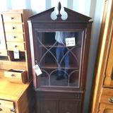 Wood Inlay Glass Front Corner Hutch