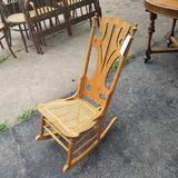 Wicker Seat Rocking Chair