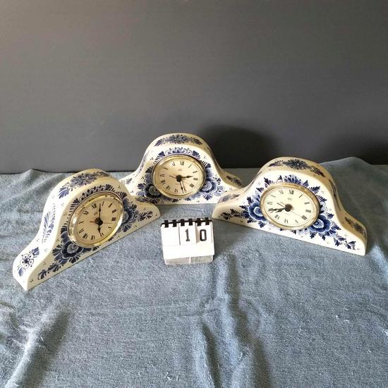Delft Porcelain Mantel Clocks
