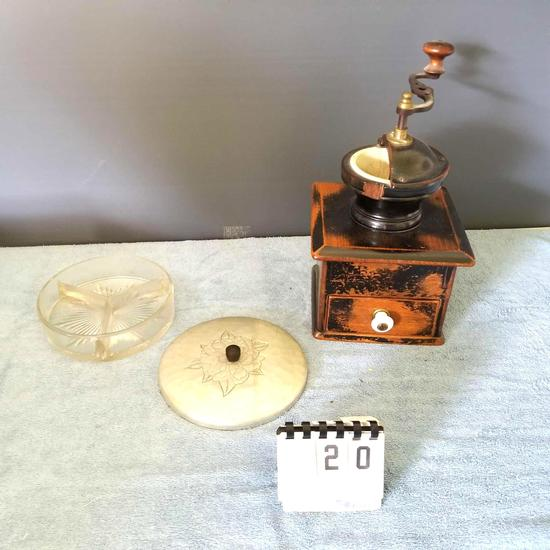 Antique Coffee Grinder and Dish