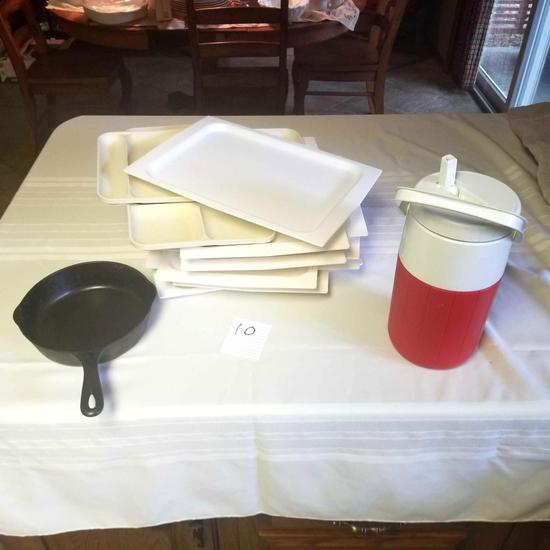 Assortment incl. Cast Iron Frying Pan, Trays, and Water Jug
