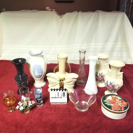 Assortment Bud Vases, Candy Dishes, and Ornamental Pcs