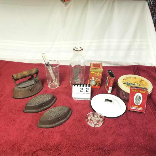 Assortment inc. Sad Irons, Tobacco Tins, Sioux Center Milk Jar
