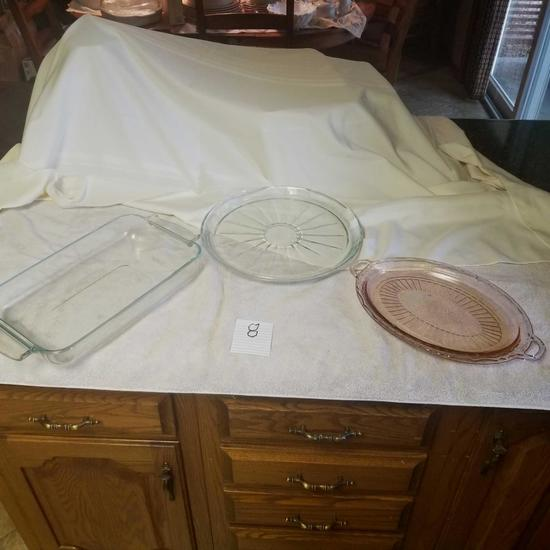 Glass Cake Pan and Glass Serving Trays