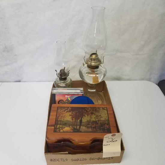 Assortment inc. Kerosene Lamps and Wood Mural Pencil Box