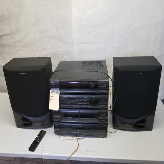 Sony Stereo inc. Dual Cassette and CD Player with Speakers