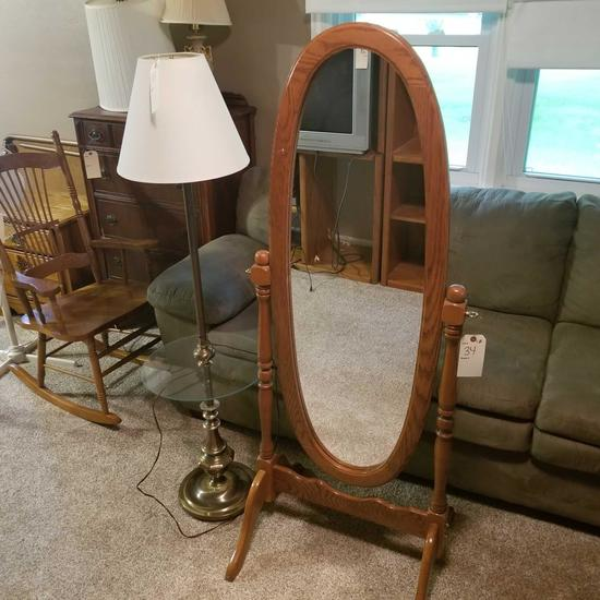 Oval Dressing Mirror on Stand and Floor Lamp