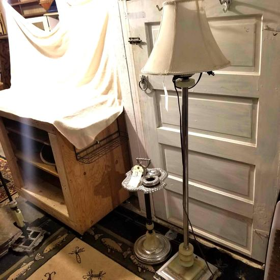 Vintage smoking stand and lamp