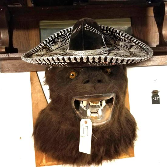 Mounted Gorilla with sombrero hat