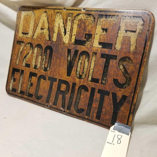 Vintage voltage metal sign