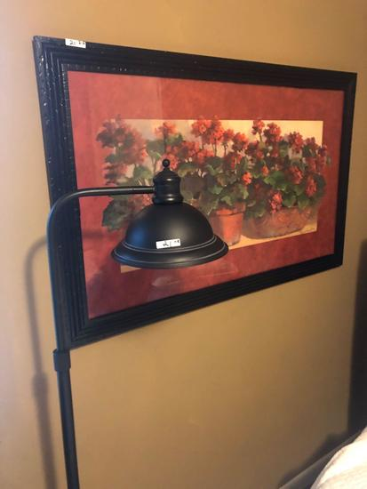 Signed framed print and floor lamp