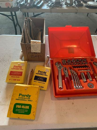 Grout mortar bags, 36 piece new socket and wrench set, three Purdy paint brushes. No shipping