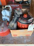 1 and 2 gallon gas cans, car Jack and oil can. No shipping