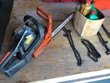 Husqvarna 18'' chainsaw with extra chains and oil. No shipping