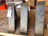 Three- home made manufactured steel brackets for lifting structures with hyd jacks. Size of
